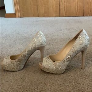 Guess Nude Heels with Lace and Gold Glitter